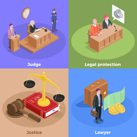 Law justice isometric design concept with icons amd human characters of court session participants with text vector illustration