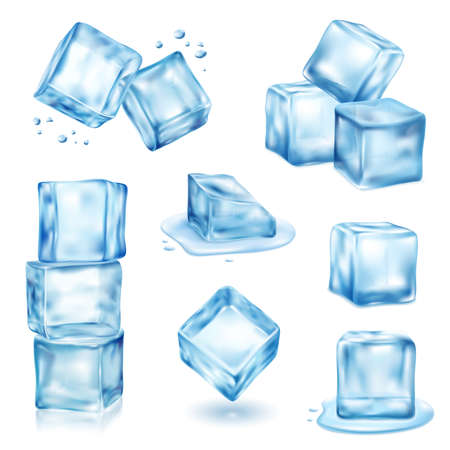 Ice cube solid and melting realistic set isolated vector illustration Ilustración de vector