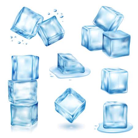 Ice cube solid and melting realistic set isolated vector illustration Vektoros illusztráció