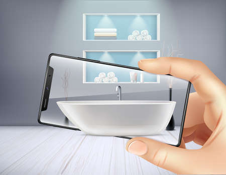 Augmented reality smartphone application and bathroom interior realistic background vector illustration Illustration