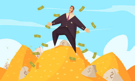 Rich man flat cartoon poster with fat businessman amidst flying dollars on gold mount top vector illustration