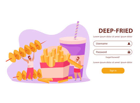 Flat background with form for password and men eating deep fried fast food vector illustration 向量圖像