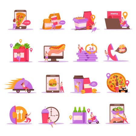 Food delivery flat icons set with isolated images of fastfood meal with packages and courier characters vector illustration Ilustração Vetorial