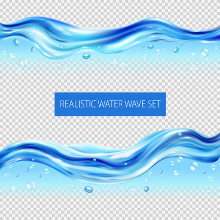 Blue water waves and drops realistic set isolated on transparent background vector illustration Ilustração