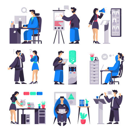 Business set of compositions with office worker characters workplaces briefing tribunes water heater and pictogram icons vector illustration