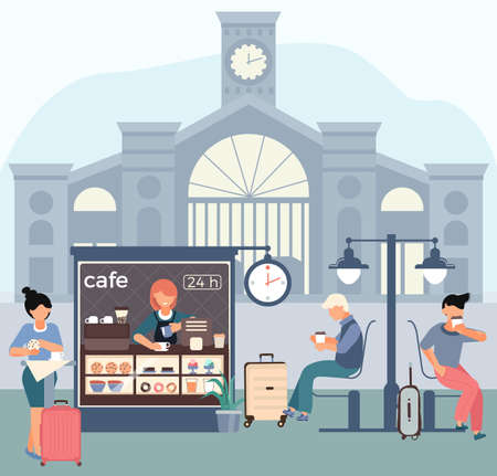 Cafe railway station flat composition with passenger building silhouette background and cafeteria stall with passenger characters vector illustration