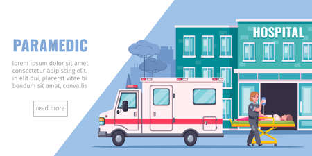 Paramedic aid cartoon page with hospital ambulance aand reanimation symbols vector illustration Vektorgrafik