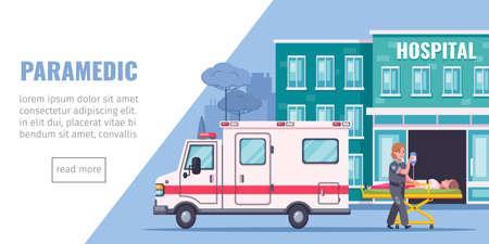 Paramedic aid cartoon page with hospital ambulance aand reanimation symbols vector illustration Ilustração Vetorial