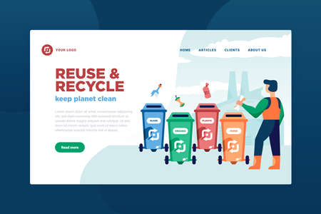 Garbage recycling concept banner for website with clickable buttons links editable text and waste separation images vector illustration