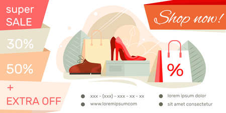Shoe shop landing page with super sale footwear offer contacts adressen advertising flat banner vector illustration