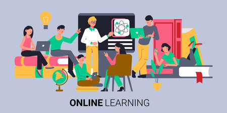 Online education composition with text and group of doodle human characters beyond books laptops and blackboard vector illustration