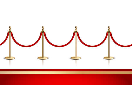 Colored and realistic red carpet composition with red and gold carpet and gold rope barrier vector illustration