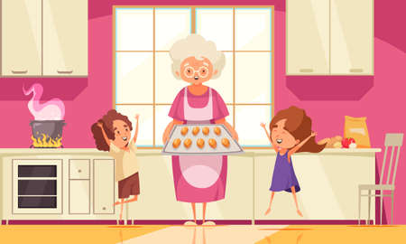 Grandma cooking food background with happy grandchildren flat vector illustration