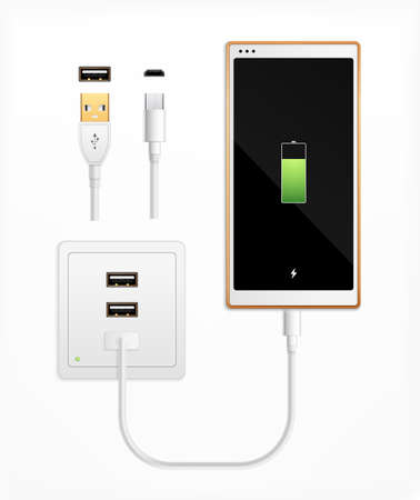 Usbport plug in charge realistic composition with set of isolated cable connectors ports socket and smartphone vector illustration