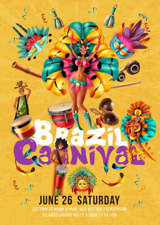 Brazil carnival invitation poster with dancers musicians masks traditional musical instruments on yellow background realistic vector illustration