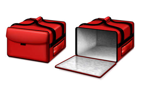Hot food delivery courier thermal insulated pizza bag opened and closed bright red realistic set vector illustration