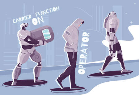 Robot people flat composition with characters of walking androids with editable text captions and abstract background vector illustration