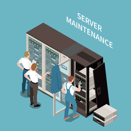 Data center colored and isometric composition server maintenance headline and situation at work vector illustration