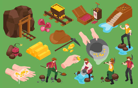 Set of isometric gold mining icons and isolated images of gold extraction with workers and tools vector illustration