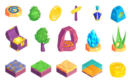 Isometric game landscape set of isolated treasure icons and surface puzzle elements images on blank background vector illustration