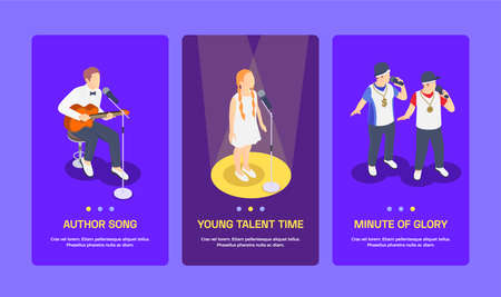 Three isometric banners with people and children singing at tv talent show 3d isolated vector illustration
