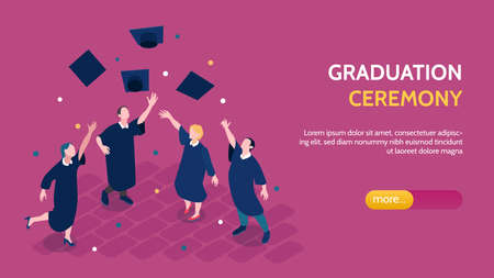 Graduation ceremony page design with celebration symbols isometric vector illustration