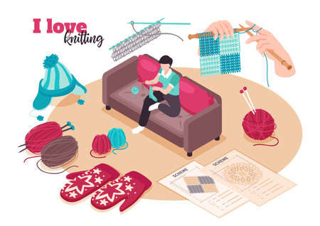 Isometric love knitting composition with ornate text and female character surrounded by needlework icons and schemes vector illustration