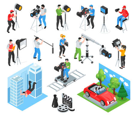 Isometric cinematography set of isolated icons and characters of shooting crew members working with professional equipment vector illustration Vektorové ilustrace