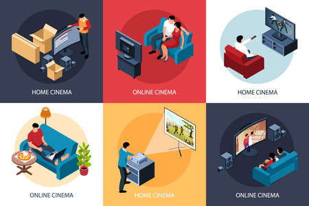 Isometric online cinema design concept 3x2 set of compositions with people enjoying watching movie at home vector illustration Vector Illustration