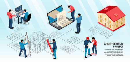 Architectural project infographics layout with designers working with computer app and drawing tools isometric vector illustration Vetores