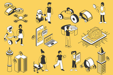 Future technology isometric icons set with people robots modern devices means of transport isolated on yellow background 3d vector illustration Фото со стока - 152700726