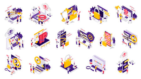 Internet censorship symbols isometric icons set with account blocking padlock ip chained access denied isolated vector illustration