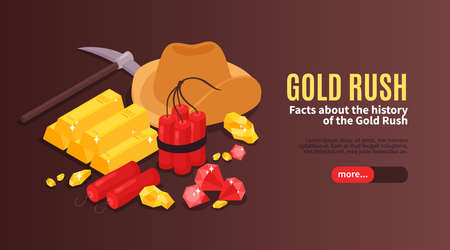 Isometric gold mining horizontal banner with images of vintage equipment explosives and gold bars with text vector illustration Фото со стока - 152576259