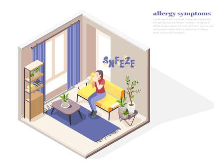 Allergy symptoms concept with allergens factors symbols isometric vector illustration Фото со стока - 152576305