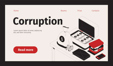 Corruption web site landing page with isometric images of cash with clickable links buttons and text vector illustration Фото со стока - 152576324