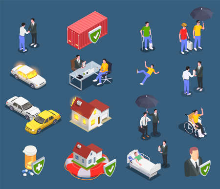 Insurance isometric set of conceptual icons and images of damaged property health and characters of agents vector illustration Фото со стока - 152700739