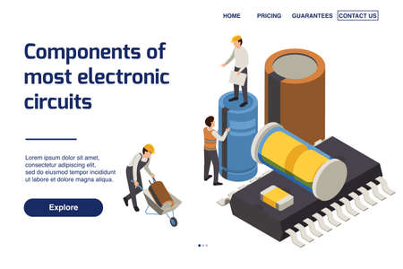 Semiconductor production page design with components of electronic circuits symbols isometric vector illustration