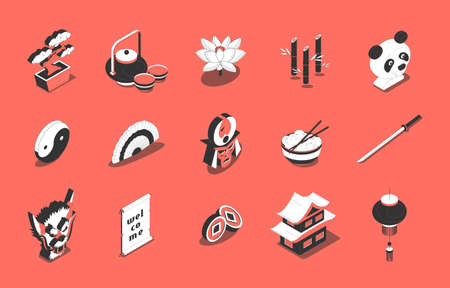 Chinese culture food traditions symbols isometric icons set with sushi tea ceremony yin yang temple vector illustration Фото со стока - 152700743