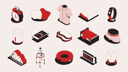 Sleep goods set of isometric icons and isolated images of soft clothes alarm clocks and gadgets vector illustration