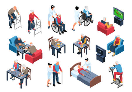 Nursing home elderly care isometric set with staff assisting residents with meals walking playing chess vector illustration