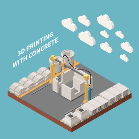 Concrete cement production isometric colored composition 3 d printing with concrete headline vector illustration Фото со стока - 152700766
