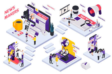 Journalistis reporters news media isometric concept with stairs news makers interview live streams and highlights descriptions vector illustration Ilustración de vector