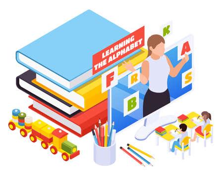 Kindergarten kids learning abc online isometric composition with teacher popping from desktop monitor books toys vector illustration