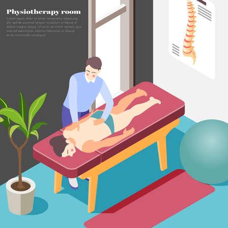 Orthopedics clinic background with massage and physiotherapy symbols isometric vector illustration