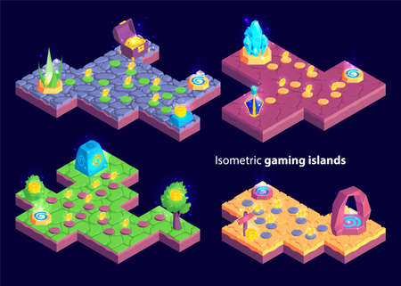 Isometric set of four isolated gaming levels with island shaped maps and plants with treasure goods vector illustration Illusztráció