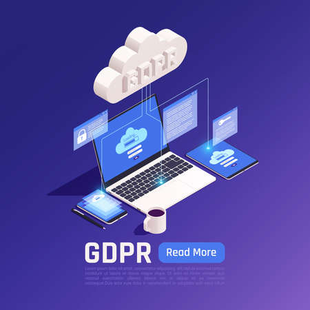Privacy data protection gdpr isometric background with cloud pictogram connected with electronic devices with clickable button vector illustration Фото со стока - 152576252