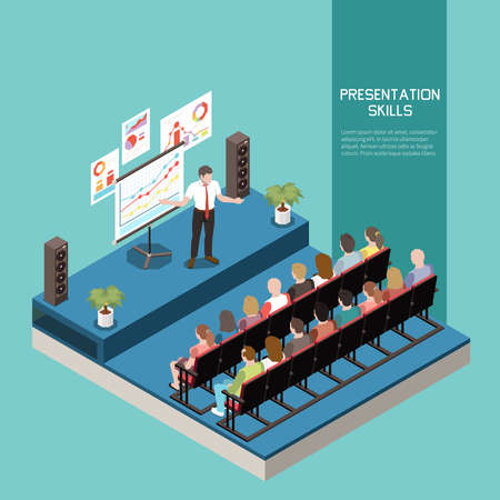 Soft skills isometric colored concept with presentation skills description and office meeting vector illustration Ilustración de vector