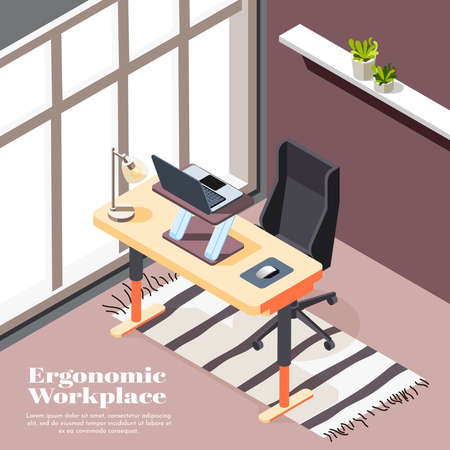 Ergonomic workplace isometric background with desk for laptop and office chairs with casters vector illustration Иллюстрация