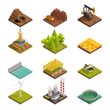 Natural resources isometric icons set with oil extraction coal mining harvesting crops wind turbine fishery vector illustration  イラスト・ベクター素材