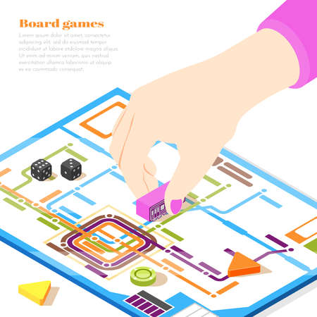 Board games isometric design concept with woman hand moving chip on playing field vector illustration Иллюстрация